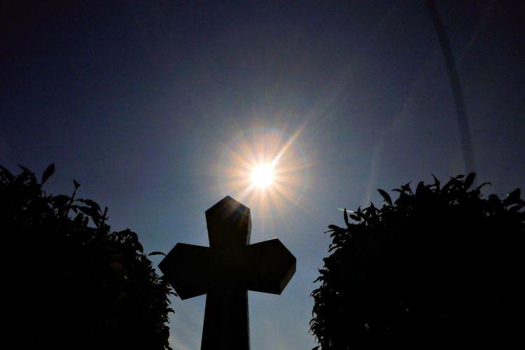 Sunshine over the cross Tree Astronomy Sun Silhouette Sunlight Sky Shining Cross Christianity Catholicism Crucifix Sunbeam