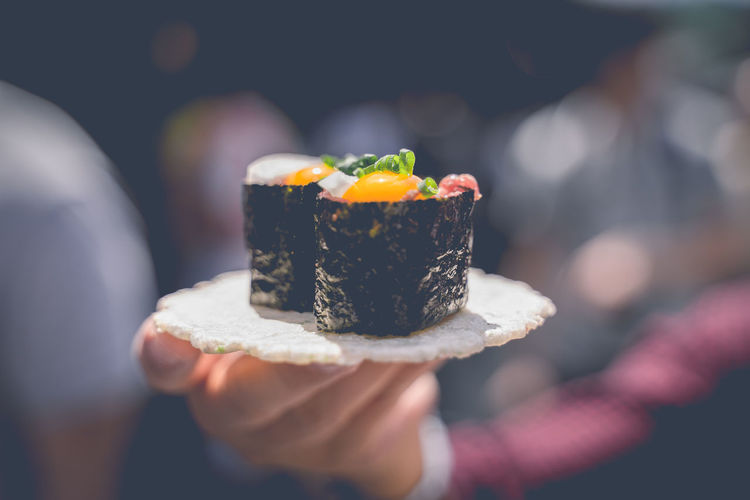 Sushi wrapped in a delicious seaweed that looks delicious in the morning in japan.