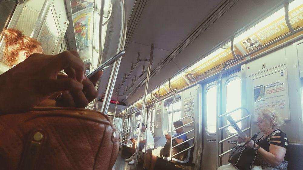 Transit Train People Phones Ads