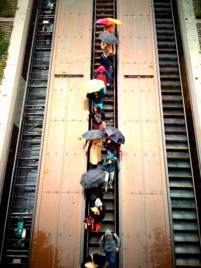 On a rainy Veterans Day 2009, DC commuters scale down the one working escalator in Dupont Circle.
