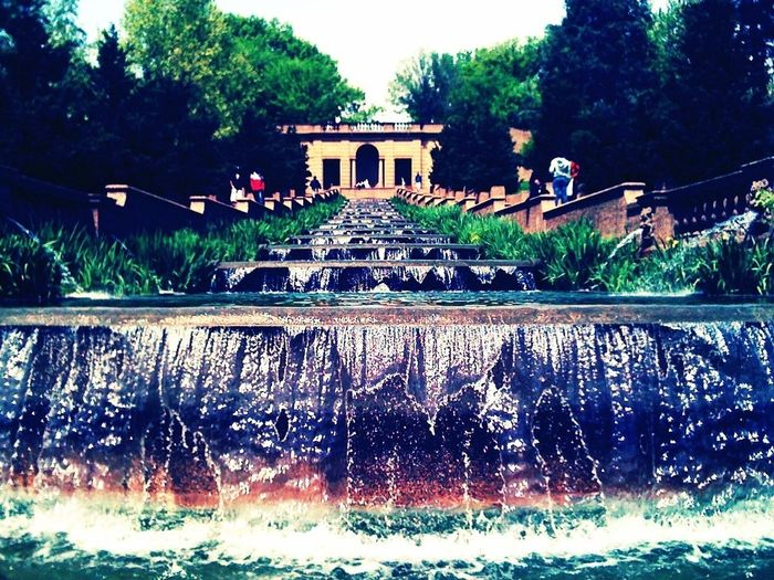 The flowing spring fountain of Meridian Hill Park in Northwest Washington DC.