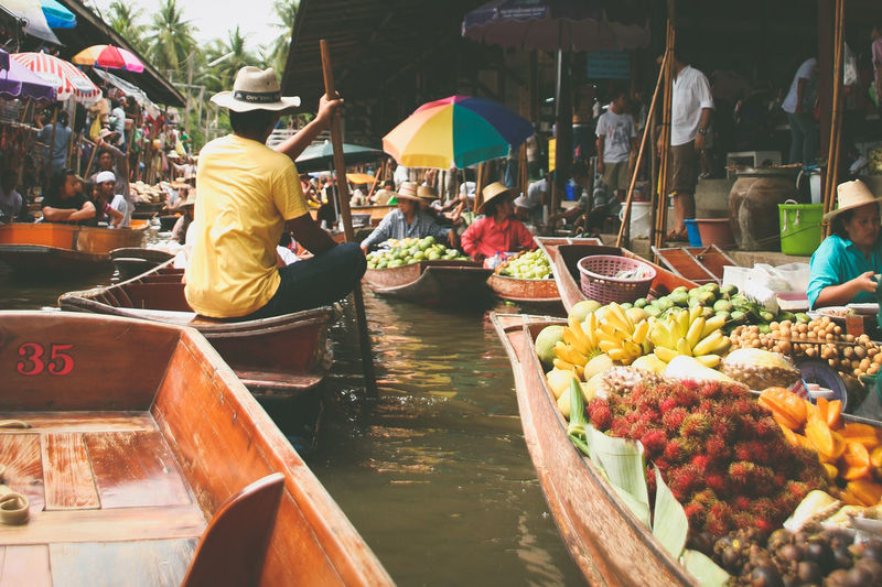 Colorful EyeEm Thailand Floating Market Food And Drink Fruit Lifestyles Market Market Market Stall Marketplace People People Photography River View Spotted In Thailand Thailand Tourism Travel Traveling Photography