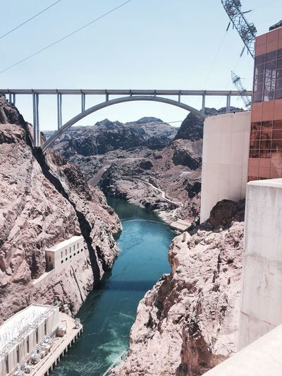 Bridge - Man Made Structure Engineering Built Structure River Dam Hydroelectric Power Water No People Travel Destinations Hoover Dam Hoover Dam Bypass Bridge Hoover Dam And Lake Mead