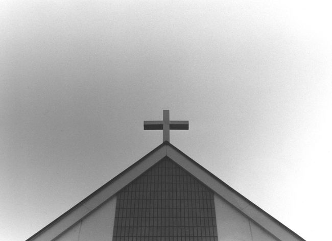 Analogue Photography Architecture Black And White Building Exterior Built Structure Christianity Church Cross Empty Eyeem Monochrome Film Japan Photography Light And Shadow Low Angle View Minimal No People Religion Roof Simple Single Object Sky Spirituality Triangle Minimalist Architecture