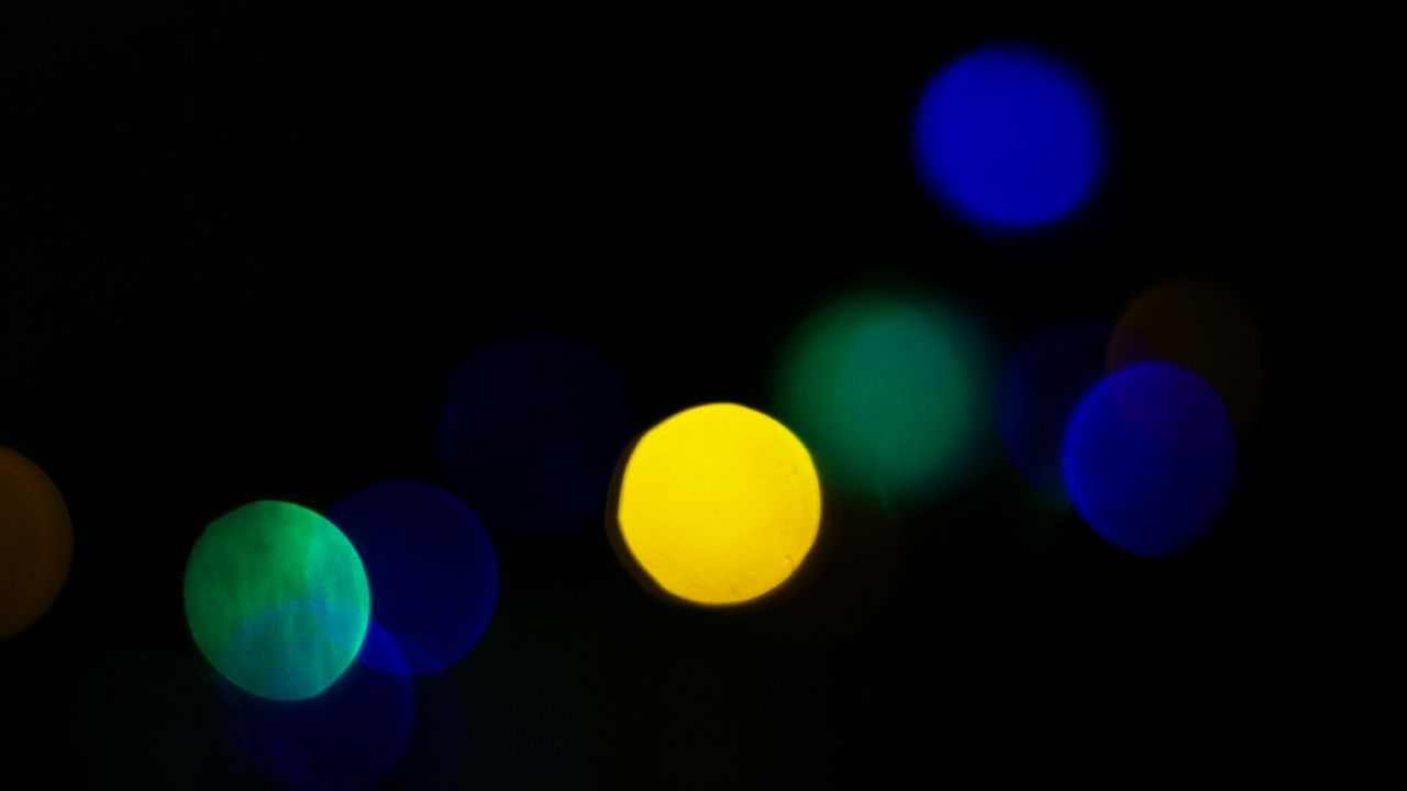 illuminated, night, circle, glowing, colorful, defocused, multi colored, light effect, no people, blue, outdoors, projection equipment, close-up, disco lights