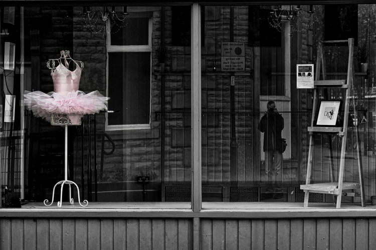 In the pink and in the picture. Black And White With A Splash Of Colour Mannequin Architecture Ballet Dress Building Exterior Built Structure City Communication Day Full Length Glass - Material Human Representation Men One Person Outdoors Parisian Mannequin Pink Color Real People Reflection Selfie Shop Window Standing Transparent Tutu Window