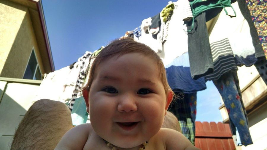 The Places I've Been Today Backyard Air Dry Doing Laundry Laundry Cute Baby Smiling Baby  Outdoors Sundrying