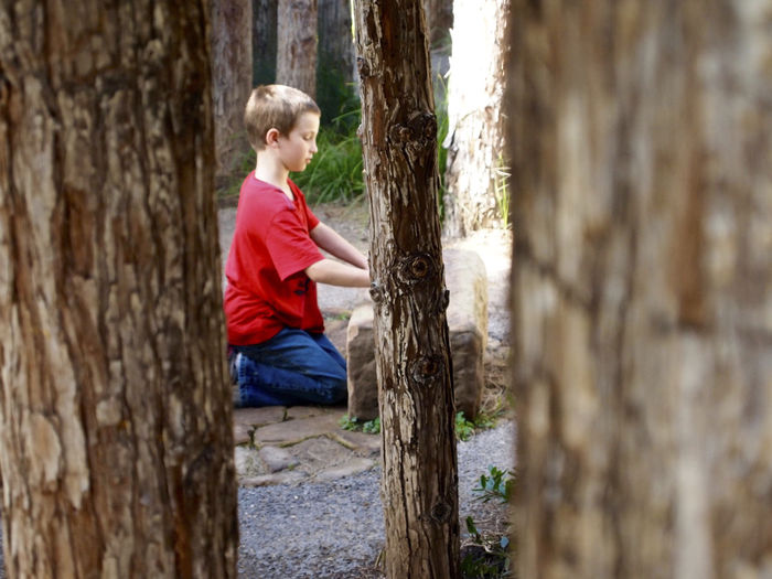 Side View Of Boy Kneeling On Field At Santa Barbara Botanic Garden