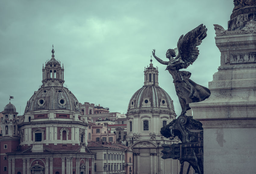 Rome on a cloudy Morning Church Cloudy Morning Light Rome Statue Angel Architecture Art And Craft Belief Building Building Exterior Built Structure Centro Historico City Cloud - Sky Dome Europe Italy Landmark Lazio No People Religion Sky Travel Travel Destinations