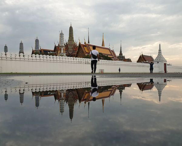 Temple of the Emerald Buddha, Thailand Landscape_photography Landscape_Collection Thailand Bangkok Thailand. Bangkok Landmark Temple Water Reflection Sky Cloud - Sky Waterfront Nature Architecture Day Real People Outdoors Travel