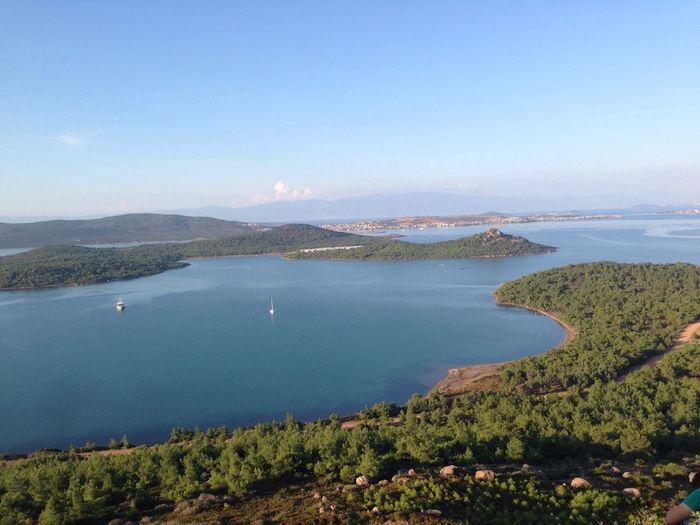 High angle view of calm countryside lake