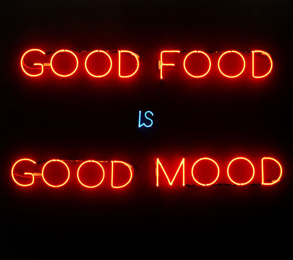 Illuminated neon sign showing good food is good mood on black background Banner Billboard Black Background Communication Font Glowing Glowing Lights Illuminated Information Information Sign Light - Natural Phenomenon Lighting Equipment Message Neon Night Nightlife Red Retro Style Sign Text Variation