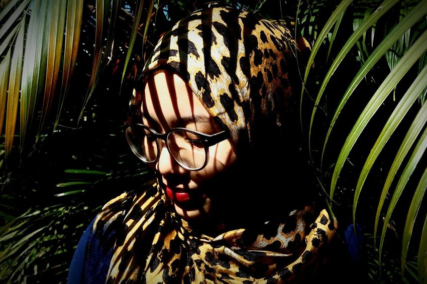 Leopard Leopard Print Hijab Hijabster Portrait Nature Creative Light And Shadow Mobilephotography