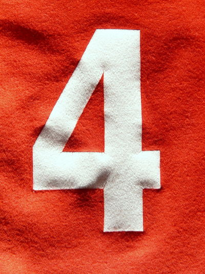 Close-up of number on fabric