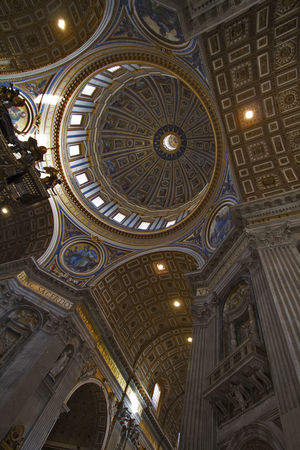 st peters basilica in rome italy Arch Architectural Feature Architecture Basilica Di San Pietro In Vaticano Built Structure Cathedral Ceiling Church Design Dome Famous Place History Low Angle View Ornate Place Of Worship Religion Spirituality St Peters Basilica
