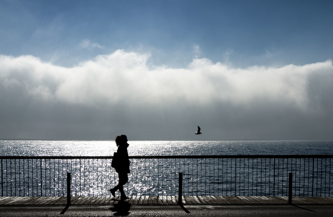 Silhouette Woman Waking On Footpath By Sea Against Cloudy Sky