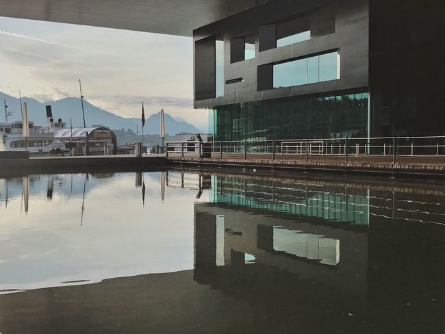 Architecture Built Structure Water Reflection Outdoors Luzern Switzerland Kkl Running