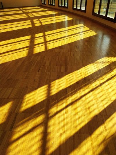 High angle view of sunlight falling on hardwood floor