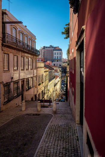 Architecture City Colerfull Houses Lisbon Narrow No People Outdoors Street Valley