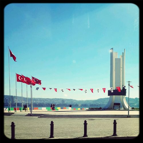Architecture Turkish Flag Sky And City Blue Sky