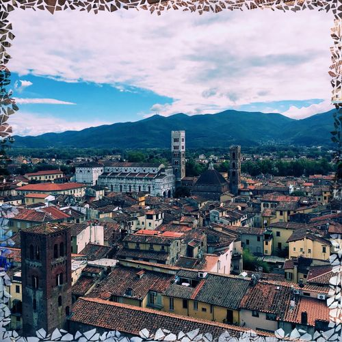 Architecture Built Structure Building Exterior Mountain Sky Cloud - Sky High Angle View Cityscape Day Crowded Outdoors Travel Destinations Mountain Range City Nature lucca Lucca Italy