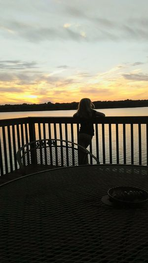 Memories My World Daddy's Girl EyeEmNewHere Timestoodstill Lakelife Picture Perfect MomentsToRemember Backyard Deck Cherish The Little Things Sunset Outdoors Tranquility Lake Horizon Over Water Water