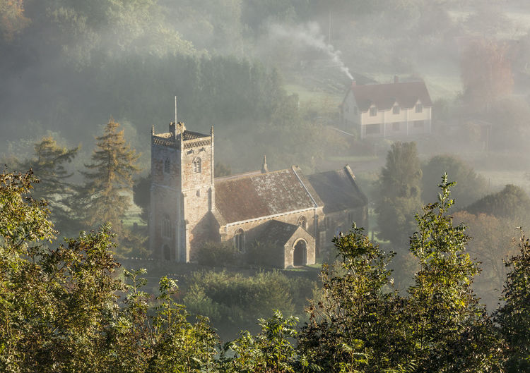 Compton Bishop Church from Crook Peak Church Mendip Hills Morning Somerset Architecture Belief Building Building Exterior Built Structure Compton Bishop Day Fog History Mist Nature No People Old Outdoors Place Of Worship Plant Religion The Past Tree