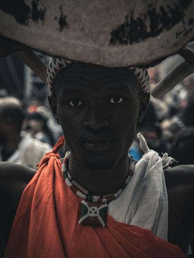 Close-up portrait of black man in his native attire