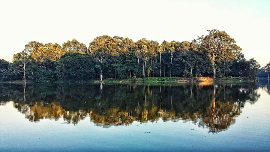 The Moat Angkor Angkor Thom Siem Reap Reservoir Angkor Wat Water History Ruins Low Angle Ancient Forest Trees Outdoors ASIA Southeast Asia Evening Sunset Moat Siemreap Khmer Empire Jungle Reflection Miles Away