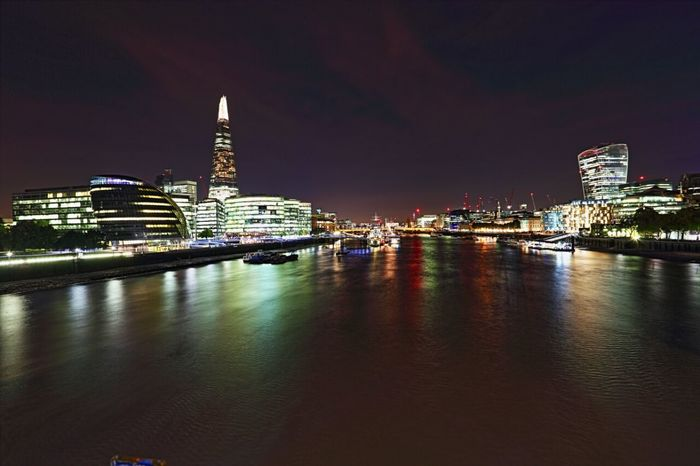 View of West London from Tower Bridge Kadeen's Media Imagine Create Behold London Night London Nights Nightscape Landscape Canon Canon Photography River Thames Welcomeweekly Canon Photographer The EyeEm Collection The Eyeem Collection At Getty Images Cities At Night