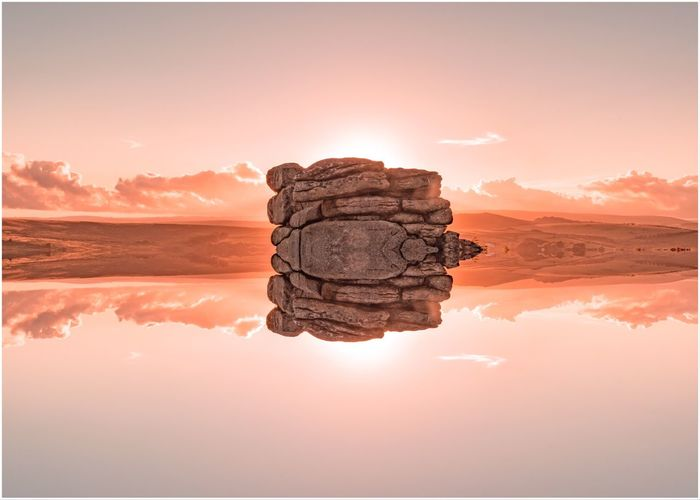 Reflections Tranquility Tor Devon UK Dartmoor National Park Dartmoor EyeEm Selects Reflection Tranquility Sky Sunset Beauty In Nature Water Nature Cloud - Sky Lake Scenics - Nature Tranquil Scene No People Solid Land Environment Landscape Rock - Object Idyllic Digital Composite Abstract