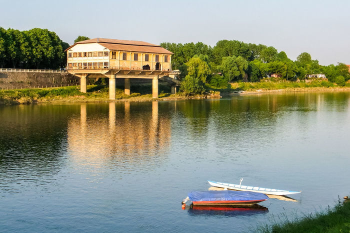 An old seaplane base on the shore of river Ticino in Pavia (northern Italy) Boats Building Hangar Italia Italy Landscape Lombardia Lombardy Nature Outdoors Pavia Reflection River Ruin Seaplane Seaplane Hangar Shore Shoreline Ticino Trees Water