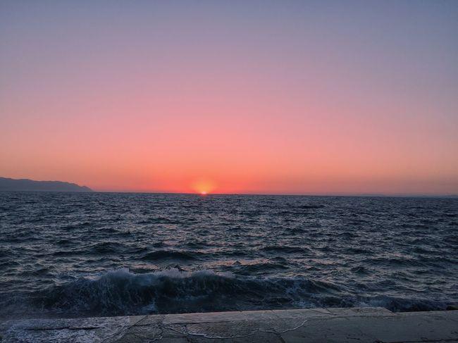 Izmir Alsancak Turkey Nature Sunset Sea Water Blue Kusadasi Horizon Over Water Scenics Beauty In Nature Wave Orange Color Dramatic Sky