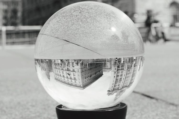 Sphere Architecture City Close-up Built Structure Dome Focus On Foreground Ball Reflection Building Exterior Outdoors Day No People Crystal Ball Glass Liverpool Liverpool, England Threegraces Waterfront Cityscape City Skylines Monochrome Black & White Black And White Photography