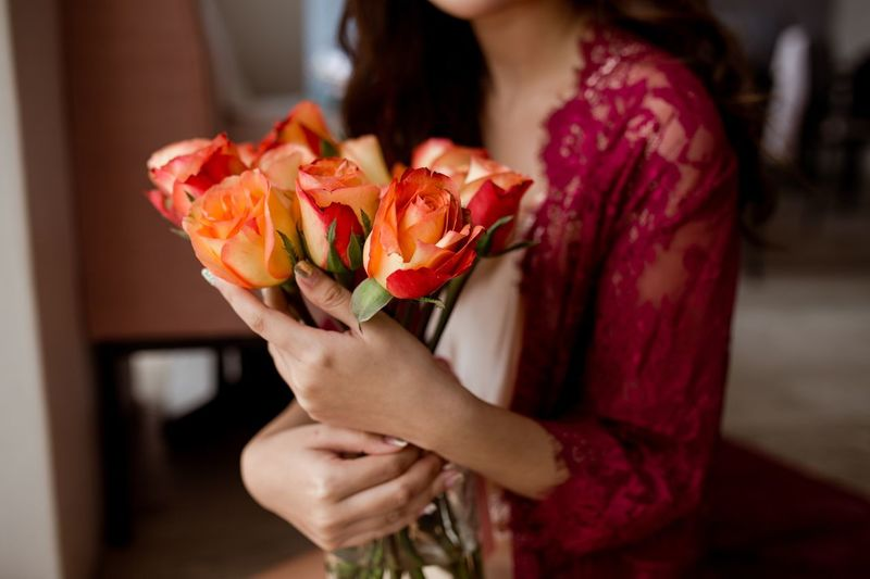 Lace Red Lace Beauty Romance Flowers Roses One Person Holding Focus On Foreground Hand Flowering Plant Flower Human Hand Freshness Plant Women Beauty In Nature Indoors  Close-up Flower Head Petal