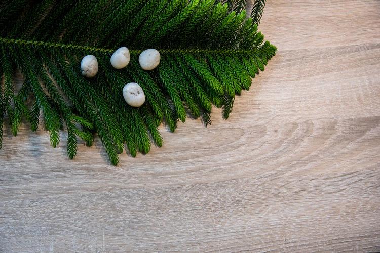 High angle view of christmas decorations on tree