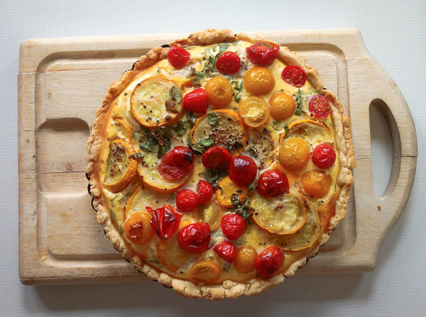 Baked Directly Above Food No People Quiche Ready-to-eat Red Tarte Tomatoes Yellow First Eyeem Photo
