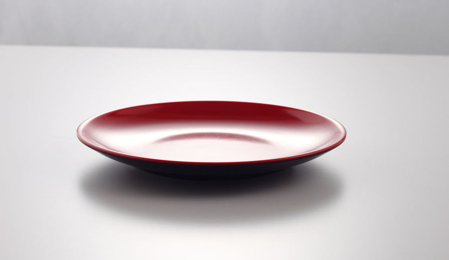 High angle view of empty bowl on table