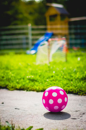 Close-up of multi colored ball on grass