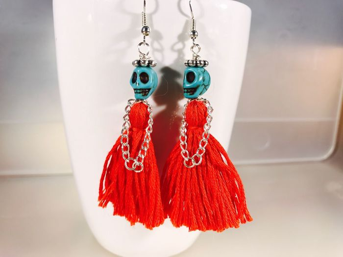 EyeEm Selects EyeEmNewHere earring Earring  Ladies Sugar Skull Dia De Los Muertos Halloween Fashion Red Close-up Jewelry Handmade