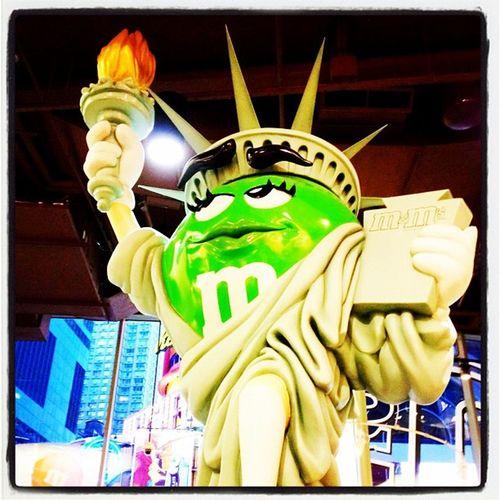 Lady Liberty of M&M World! #nyc #chocolate NYC Chocolate Tourist Travel Statue Funny M Newyork Mascot Newyorkcity Instagood Statuteliberty Gimmick Ladyliberty