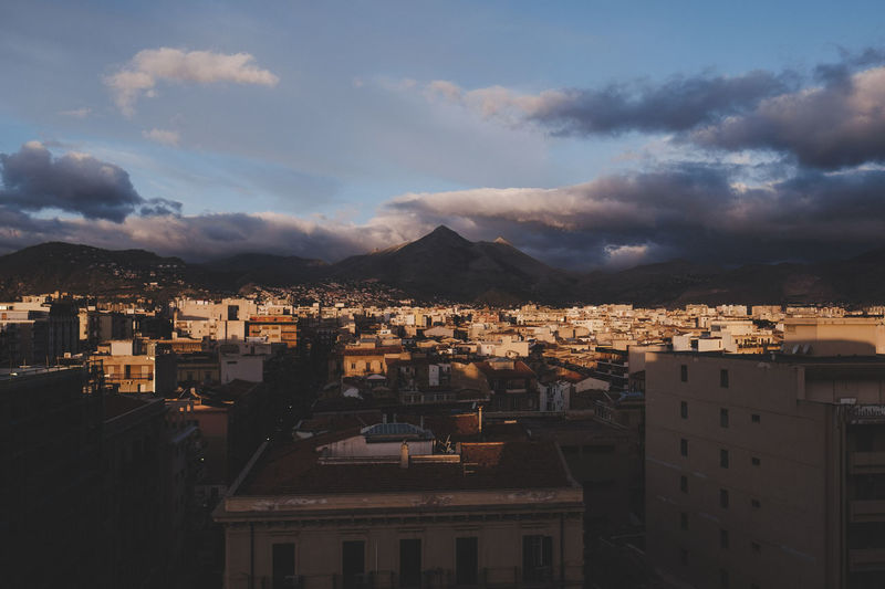 Sunrise over Palermo Cloudscape Morning Morning Light Travel Travel Photography View Architecture City Cityscape Early Mountain No People Sunrise Town