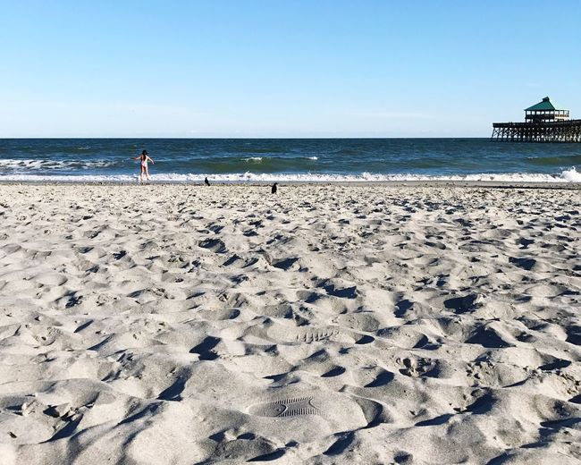 Spring Day at the beach ! Just perfect! Folly Beach Sea Beach Clear Sky Horizon Over Water Sand Scenics Nature Water Shore Sunlight Tranquility Beauty In Nature Outdoors Sky Day Tranquil Scene No People