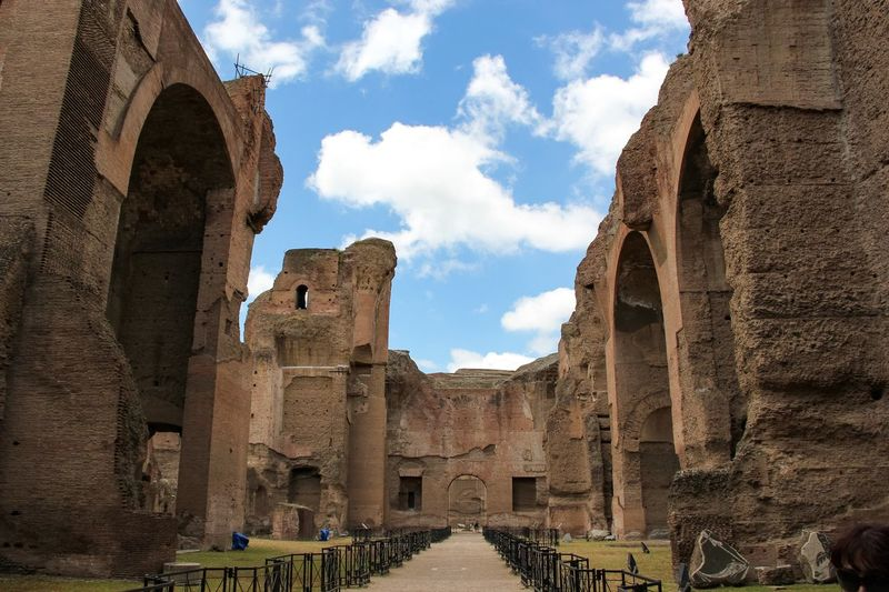 Old Ruins At Baths Of Caracalla Against Sky
