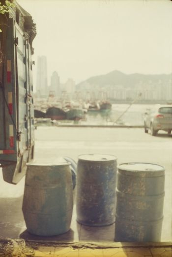 Analogue Photography China Garbage Bin No People Outdoors Sidewalk Streetphotography Water