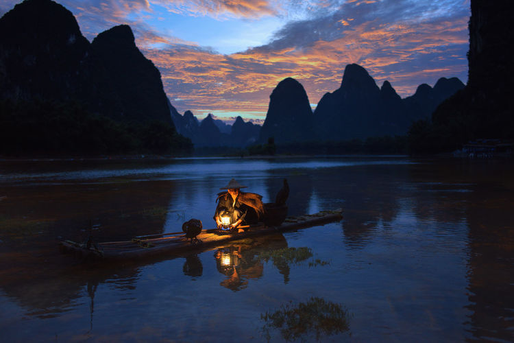 Li river and karst mountains, fisherman of guilin,guangxi, china