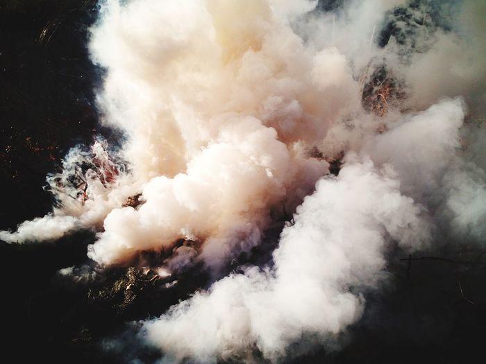 High angle view of smoke