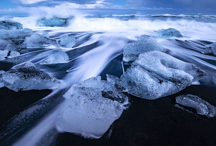 Closup view of frozen sea during winter