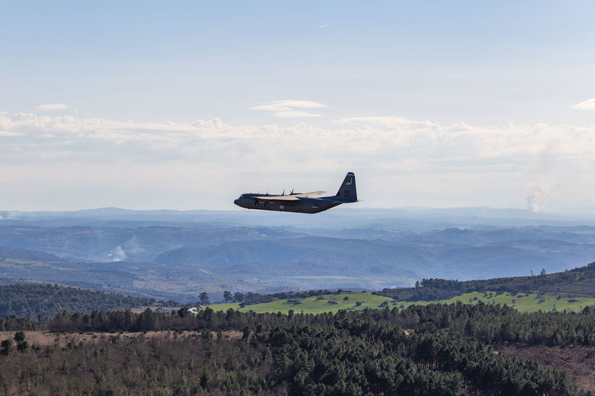 Military Plane in low-altitude flight against blue sky, Portugal Air Vehicle Airplane Airplane Wing Alentejo Clouds Copy Space Fire Fire Fighter Fire Fighters Flying Forest Fire Landscape Military Military Airplane Mode Of Transport Mountain No People No People, Portugal Transportation