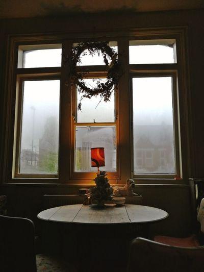 cosy rainy day Wreath Kitsch Warm Cosy Day Rainy Day Gemütliches Plätzchen Geborgenheit Romantic Place Home Interior Window Wealth
